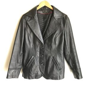 Wilsons Leather Black Jacket Bound Buttons Pockets